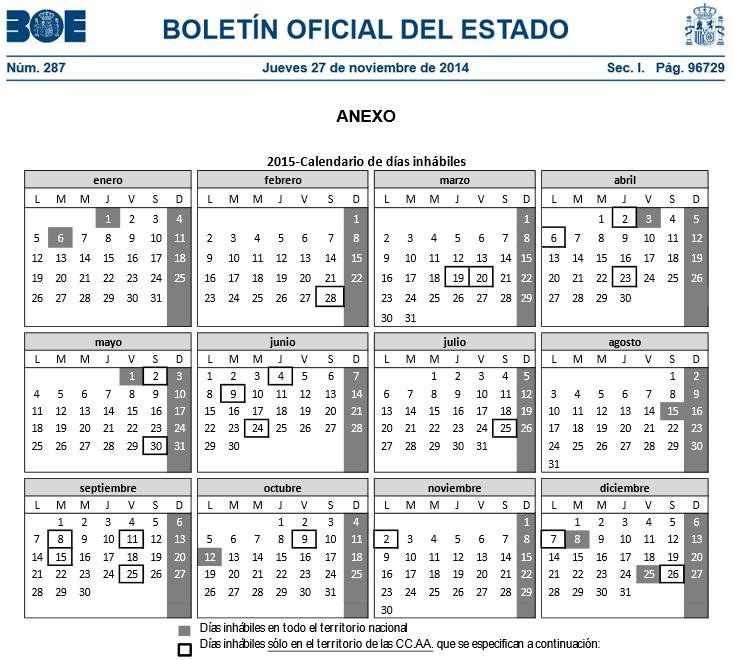 calendario hacienda 2015